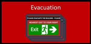 Ikon med teksten - Evacuation