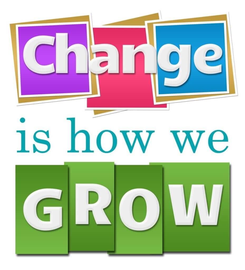 Illustration med teksten - change is how we grow