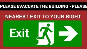 Knap med link til video om evakuering