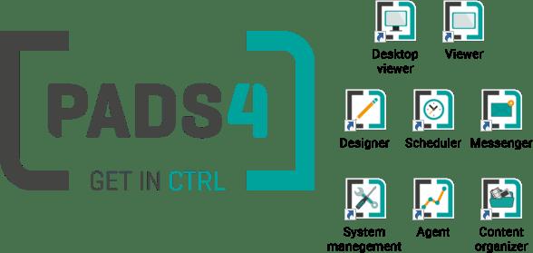 Illustration med ikon for PADS4 og tilhørende værktøjer