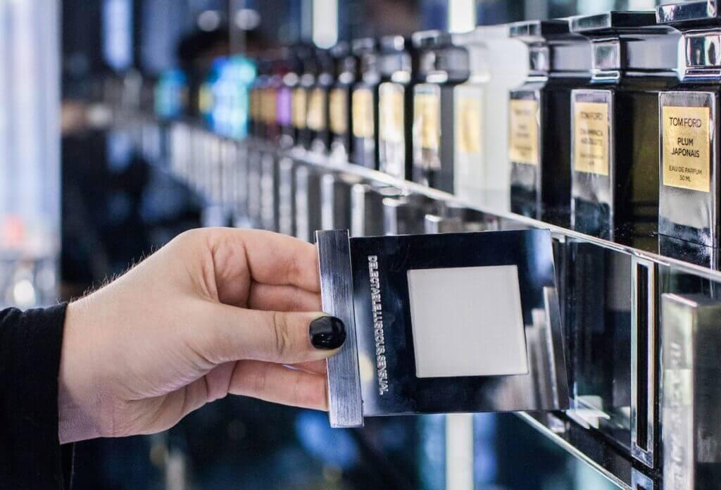 Digitalt lugtekort fra Tom Ford konceptbutik i UK