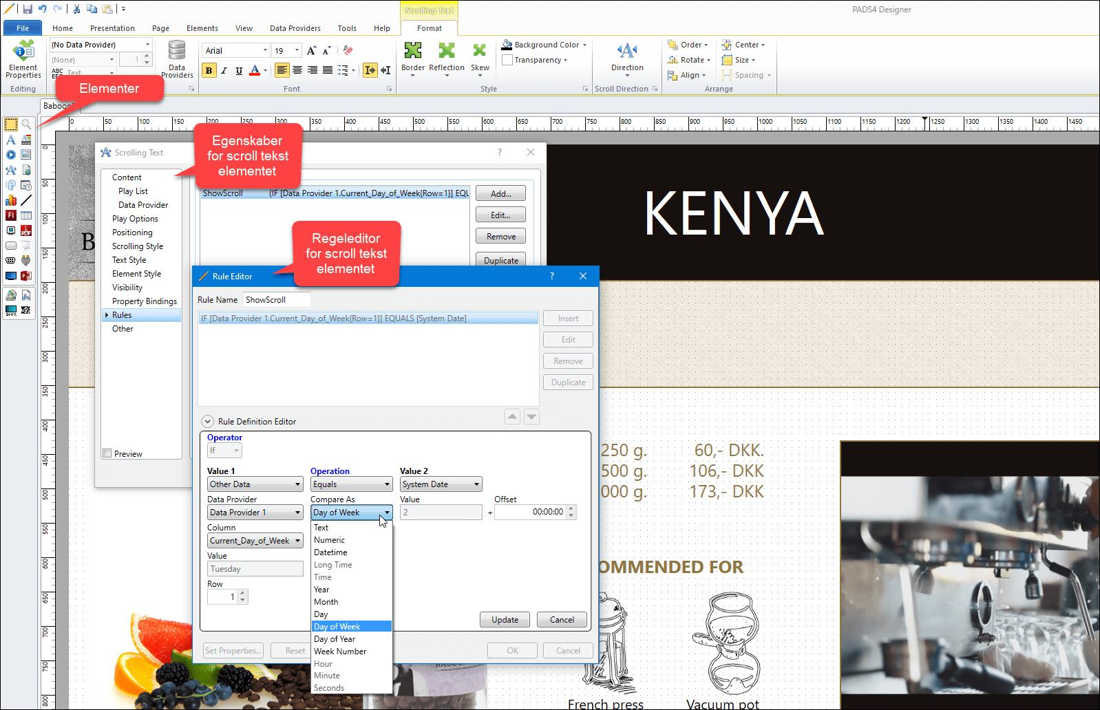 Skærm-dump af PADS4 design elementer og regler