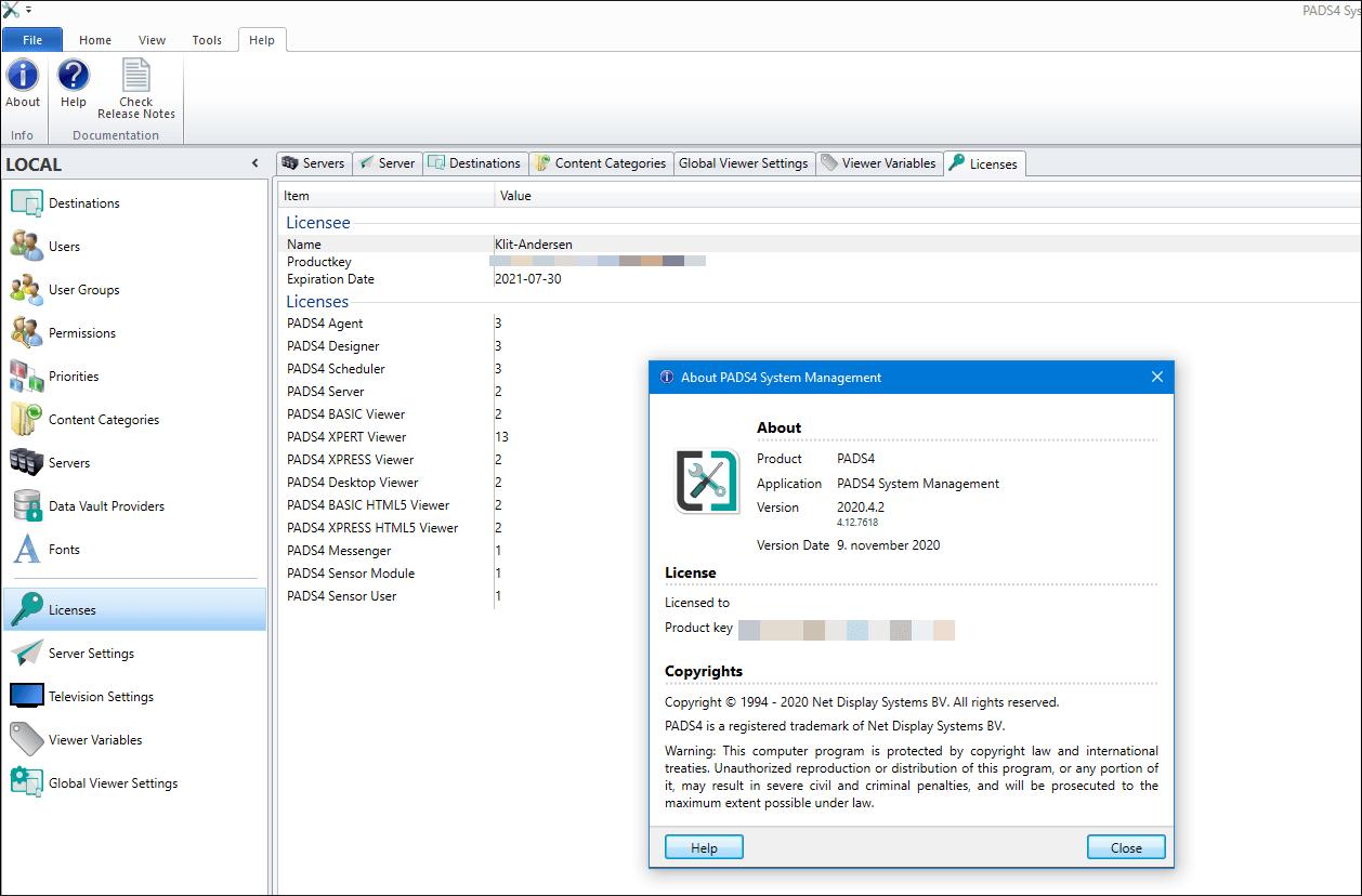 Skærm-dump af PADS4 system management