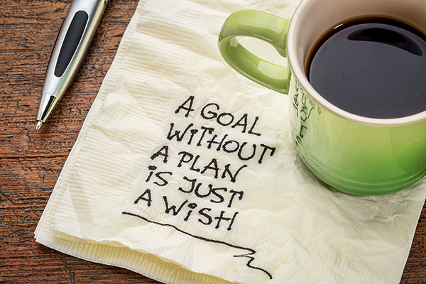 Illustration med teksten - A goal without a plan is just a wish