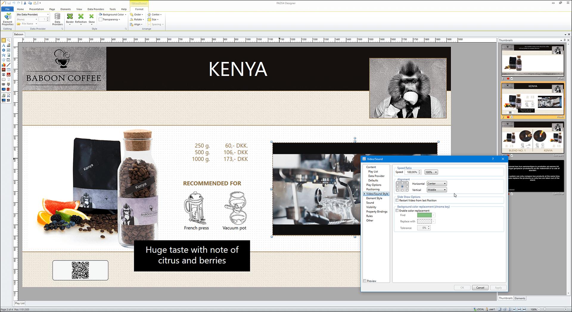 Hvad er digital signage - Skærm-dump af PADS4 designer